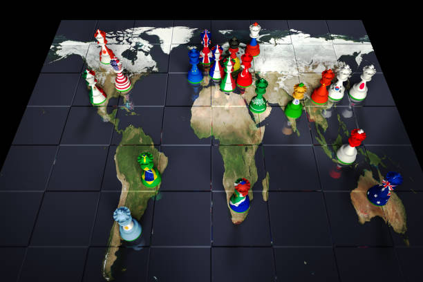 G20 Nations Chessboard Render of a chessboard decorated with a map of the earth and with pieces decorated with the flags of the G20 Governments: Canada, USA, UK, France, Italy, Germany, Japan., Mexico, Argentina, Brazil, Turkey, Russia, Saudi Arabia, South Africa, India, China, South Korea, Indonesia, Australia and the EU.  The Earth map is a public domain image from NASA's Visible Earth project: https://visibleearth.nasa.gov/view.php?id=73884 theasis stock pictures, royalty-free photos & images