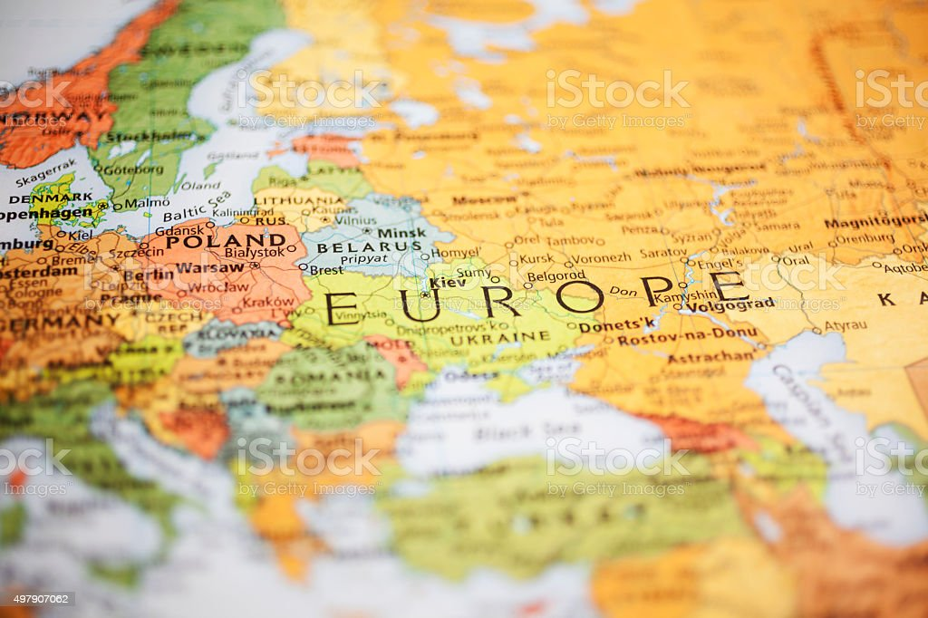 Nations:  Map of Eastern European countries. Focus on Poland, Denmark. stock photo