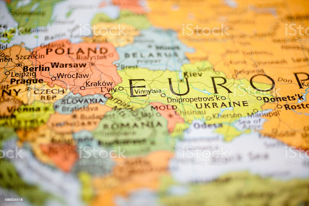 Nations:  Map of Eastern European countries. Warsaw, Poland. stock photo