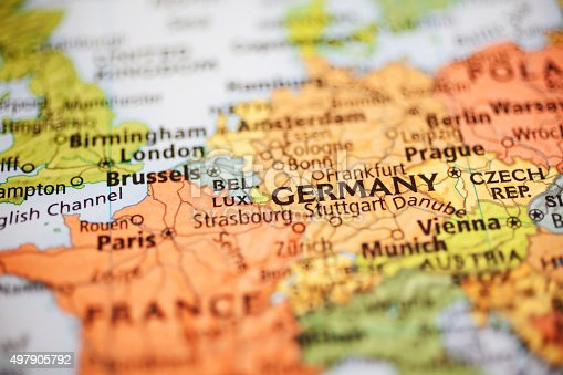 istock Nations:  Map of European countries. Focus on Germany. 497905792