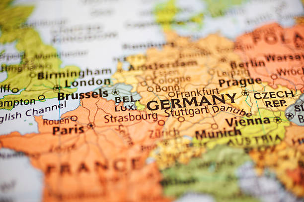 Nations:  Map of European countries. Focus on Germany. stock photo