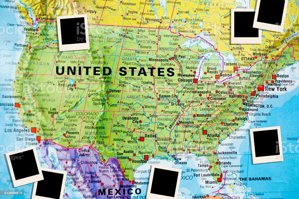 Nations Map Of North American Countries Focus On Usa Stock ...