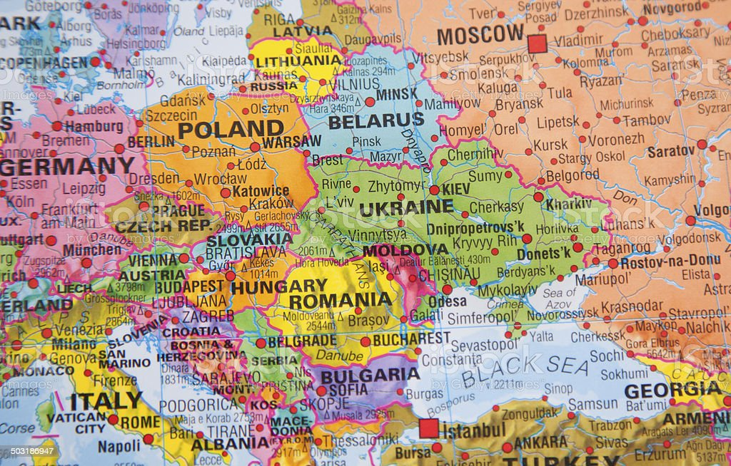Nations:  Map of Ukraine, Russia and other Eastern European countries. stock photo