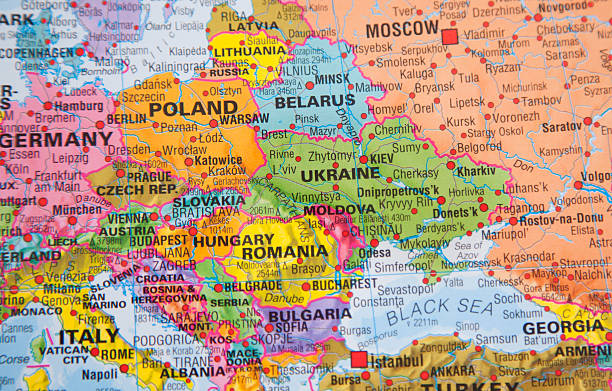 nations:  map of ukraine, russia and other eastern european countries. - 東歐 個照片及圖片檔