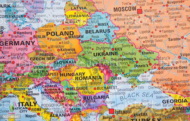 Nations Map Of Ukraine Russia And Other Eastern European Countries ...