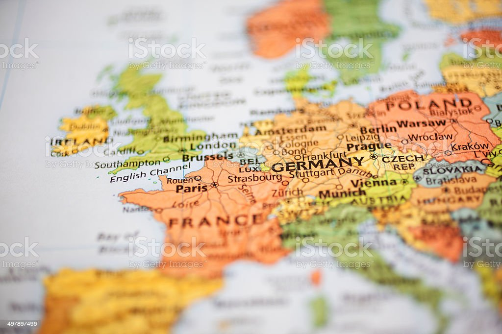 Nations:  Map of Western European countries. Focus on Paris, France. stock photo