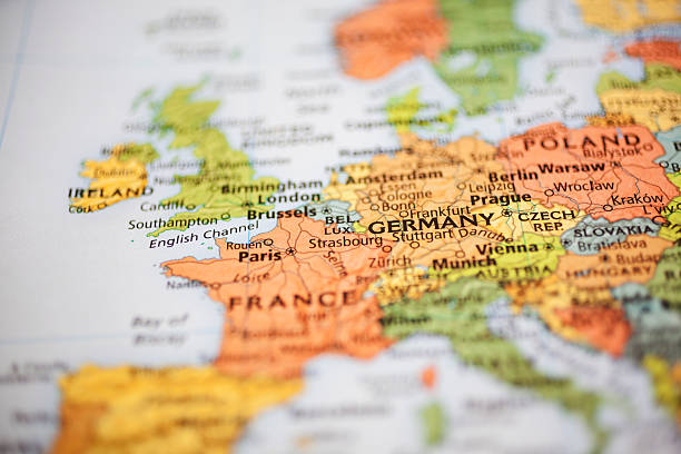 nations:  map of western european countries. focus on paris, france. - europe map stock photos and pictures