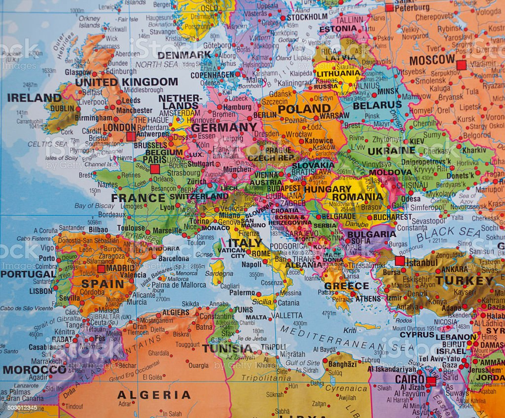 Nations: Map of Western, Northern, Southern, and Eastern European countries. stock photo