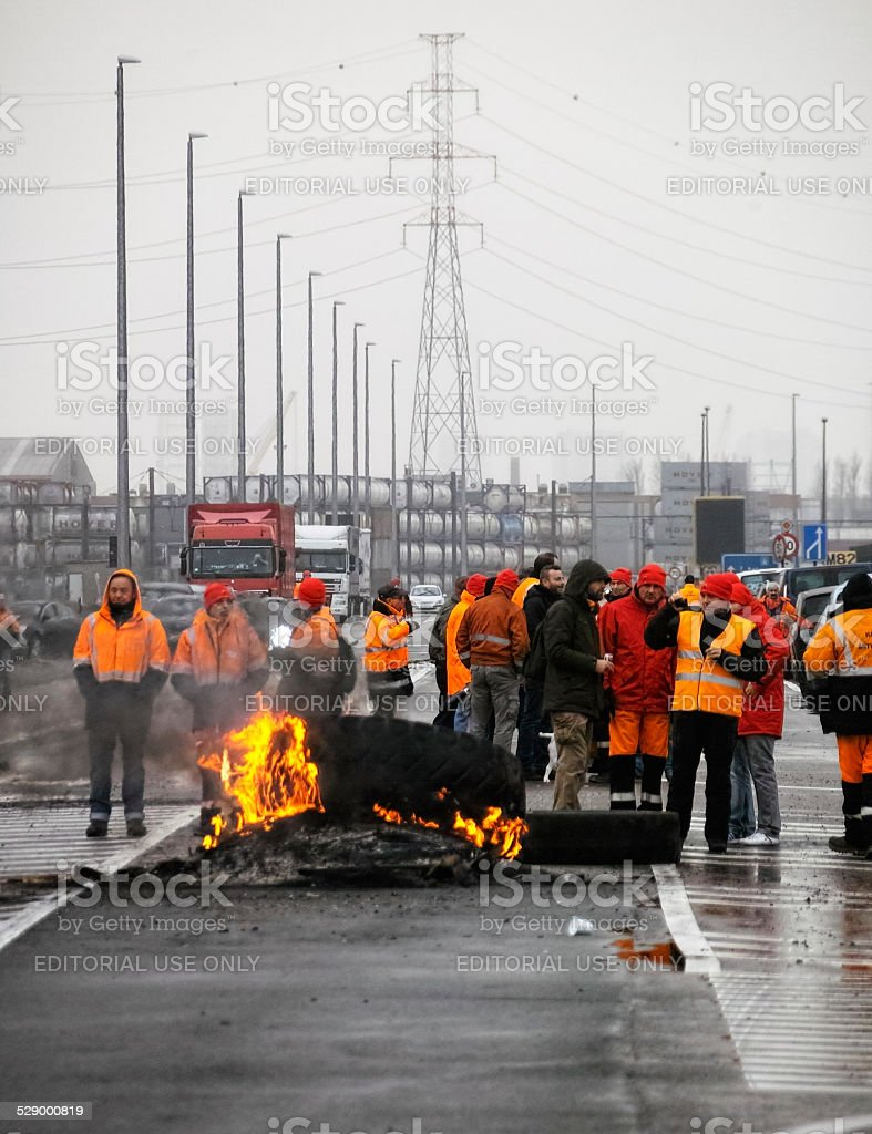 Nationwide anti-austerity strike in Belgium stock photo