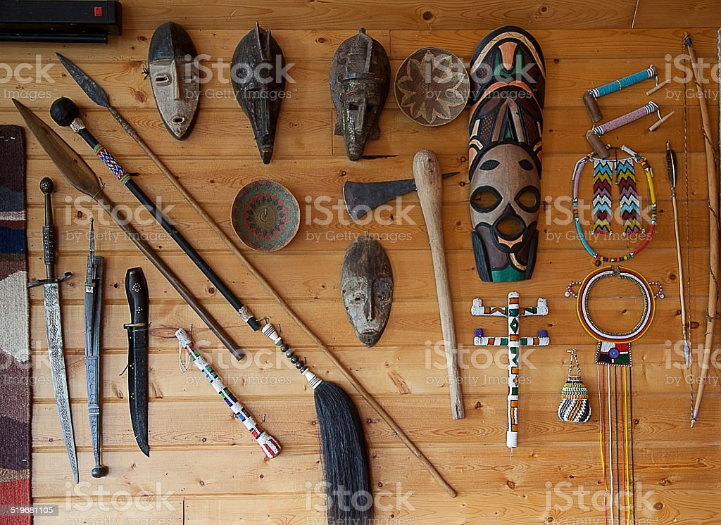 Native African Tribal Art And Weapons Stock Photo - Download