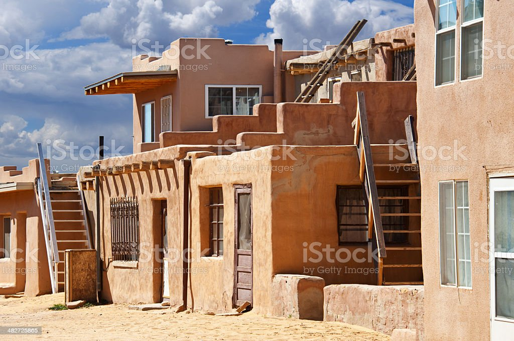 Native american acoma pueblo street with adobe houses for How to build a model pueblo house