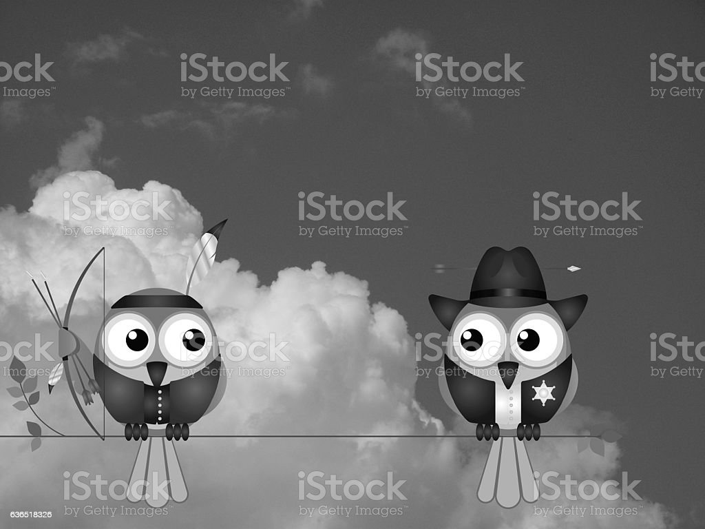 Native American and Cowboy stock photo