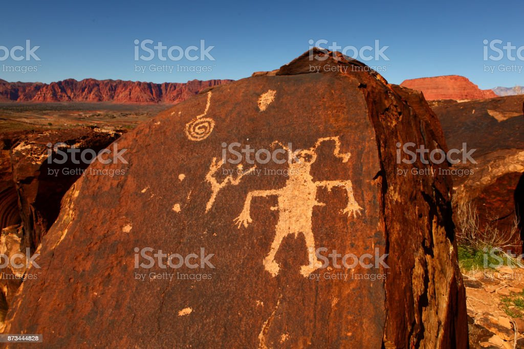 Native American Art on a cliff stock photo