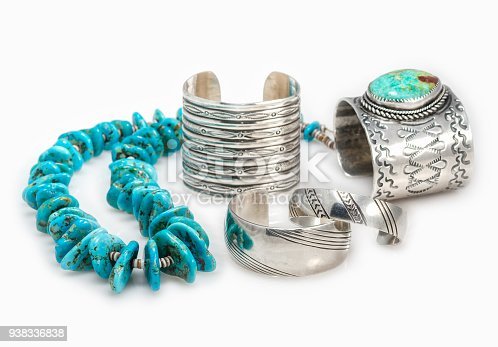 istock Native American Bracelets and Turquoise Necklace. 938336838