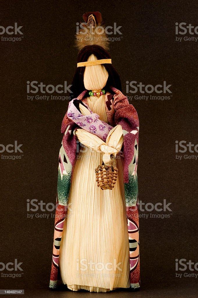 Native American corn husk doll stock photo
