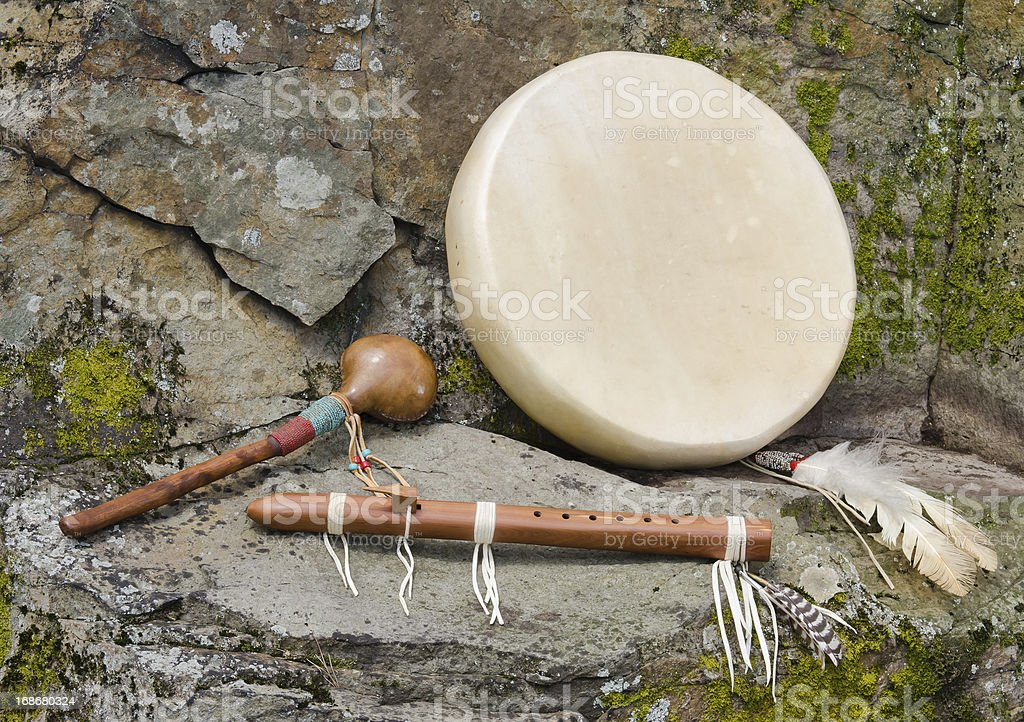 Native American Drum, Flute and Shaker. royalty-free stock photo