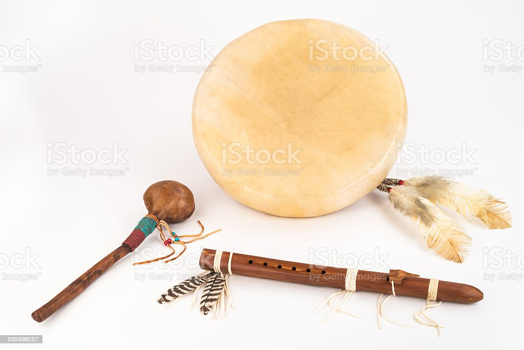 Native American Drum, Flute and Shaker. stock photo