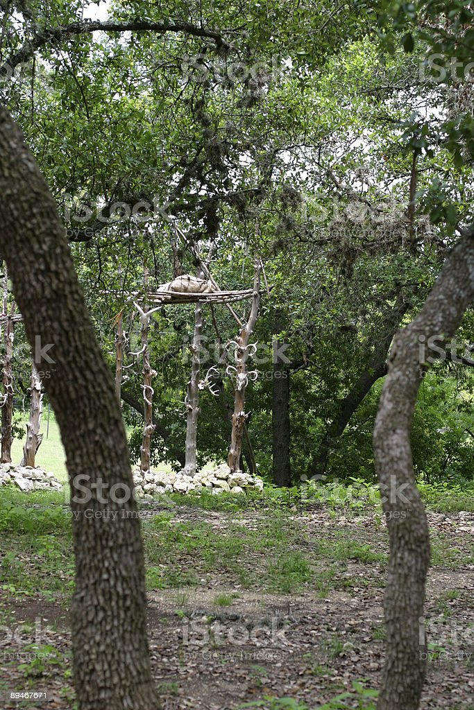 Native American Indian Gravesite in the Woods stock photo