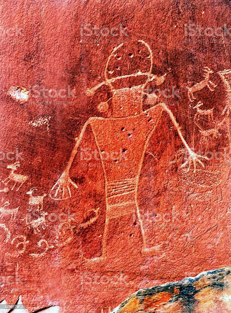 Native American Indian Petroglyphs Capitol Reef National Park Torrey Utah stock photo
