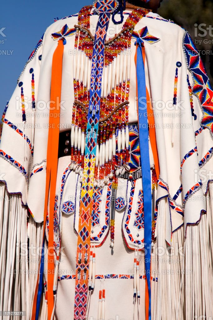 Native American Indian Woman in Traditional Dress or regalia stock photo