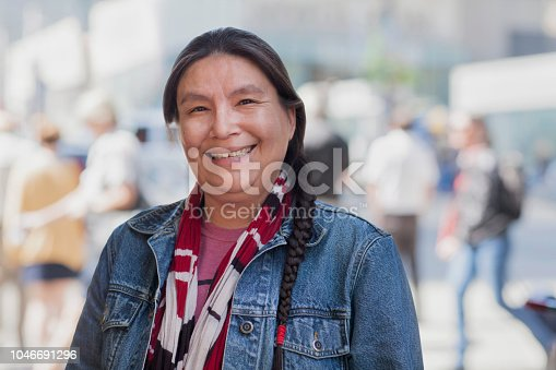 Native American lady street portrait