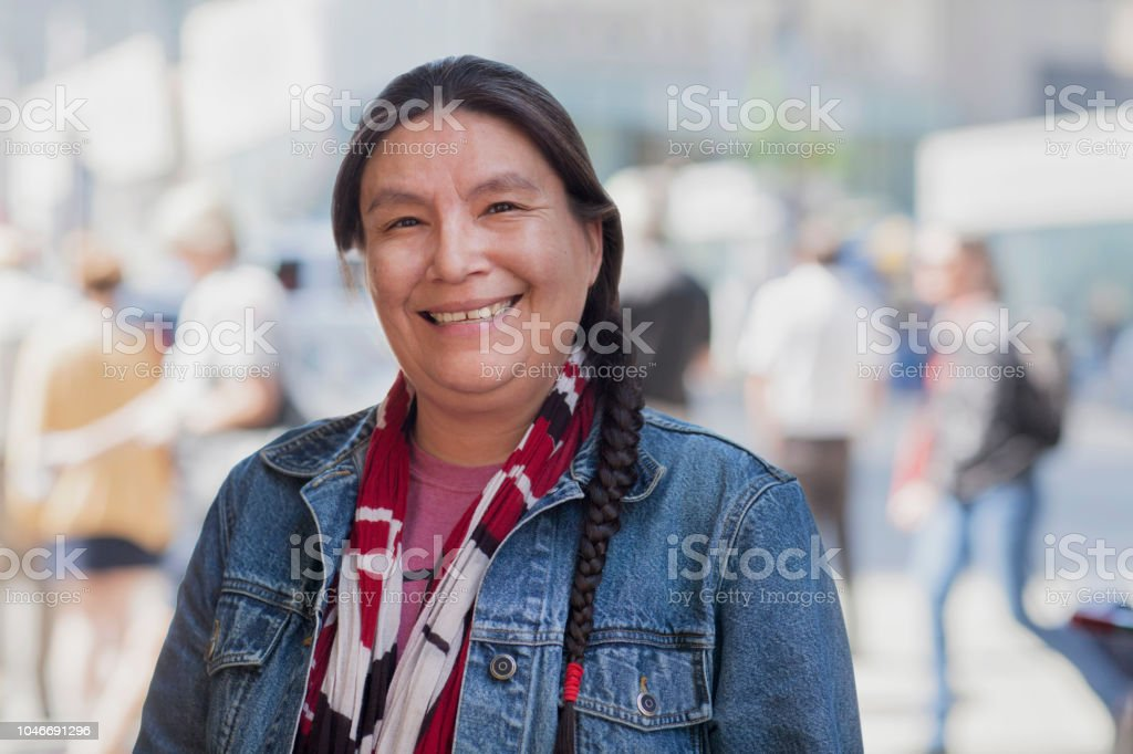 Native American lady street portrait stock photo