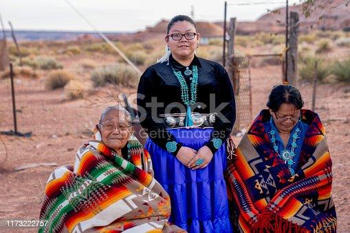 Native American Navajo Women, Teenage Granddaughter, Grandmother and Great Grandma Outside a Traditional Navajo Home in Monument Valley on the Arizona Utah Border