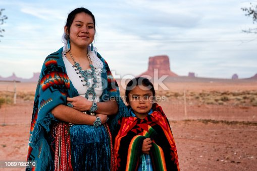 Proud and traditional brother and sister native american navajo children posing on their ancestral property in Monument Valley Arizona