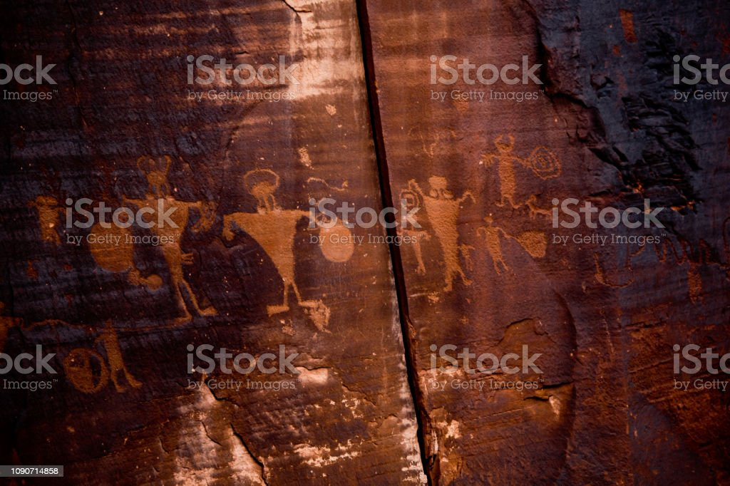 Native American Petroglyph Panel in the desert stock photo