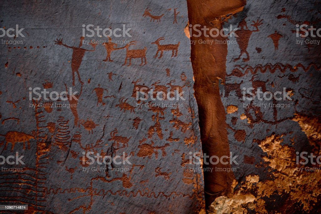 Native American Petroglyph Panel in Utah stock photo