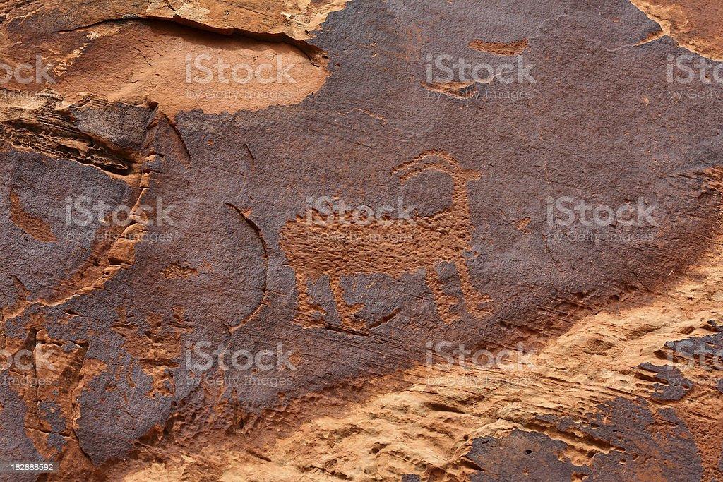 Native American Petroglyph royalty-free stock photo