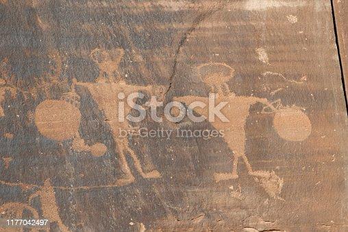 Native American petroglyphs, Wall Street, near Moab, Utah