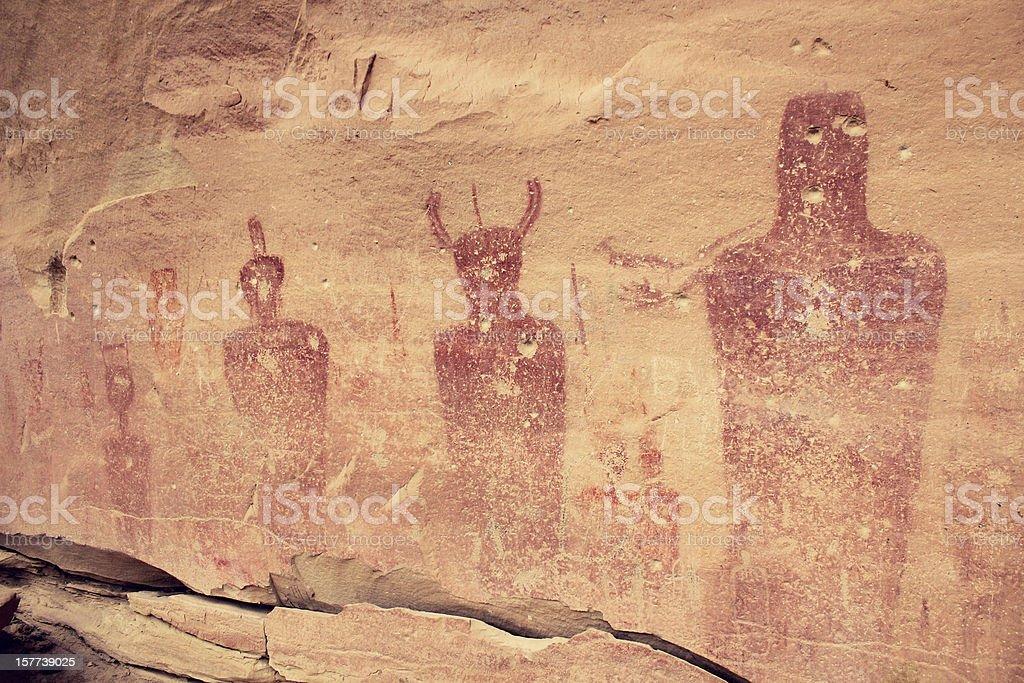 Native American Pictographs - Prehistoric Indian Rock Art stock photo