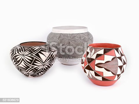 Three Pieces of Native American Pueblo, Clay  Pottery isolated on white background.