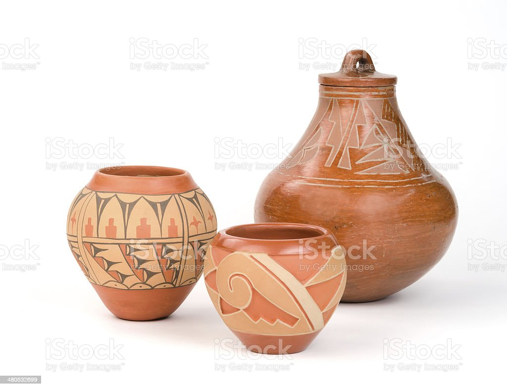 Native American Pueblo Pottery. stock photo