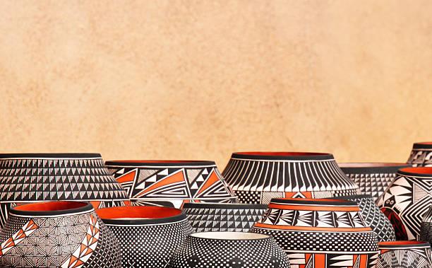 native american pueblo pottery - navajo culture stock photos and pictures