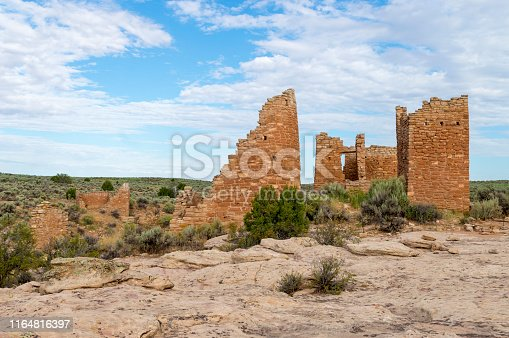This is a view of some of the Native American (Anasazi) ruins found at Hovenweep National Monument.  This shot was taken from the top of the Mesa that surrounds the Square Tower Group.  Featured in this shot is a structure called the Hovenweep Castle