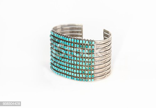 istock Native American Silver and Turquoise Cuff Bracelet. 938304428