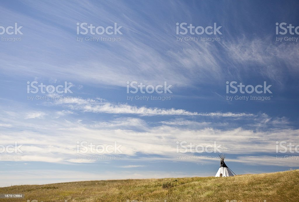 Native American Tipi on the Great Plains stock photo