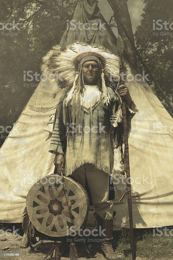 Native American Warrior stock photo
