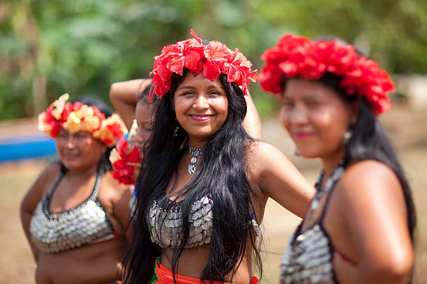 native american women - embera indian women stock pictures, royalty-free photos & images