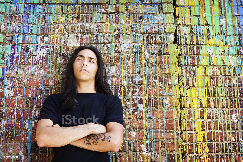 Native American Young Man Daydreaming stock photo