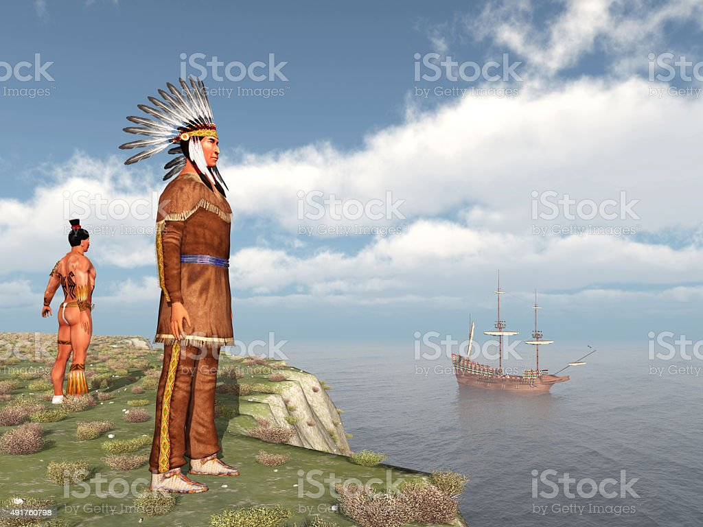 Native Americans and the Mayflower stock photo