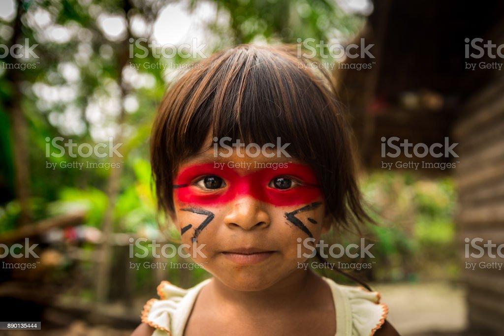 Einheimischen brasilianischen Kind aus Tupi-Guarani Stamm, Brasilien – Foto