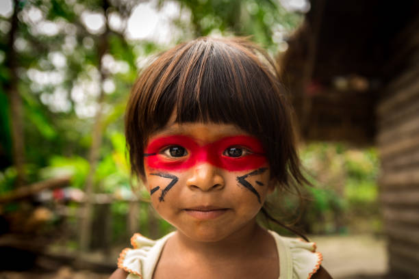 Native Brazilian Child from Tupi Guarani Tribe, Brazil stock photo