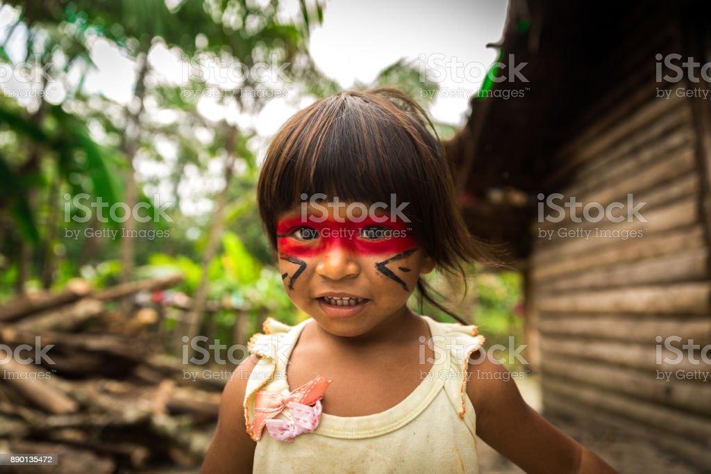 Native Brazilian Child from Tupi Guarani Tribe, Brazil stock photo