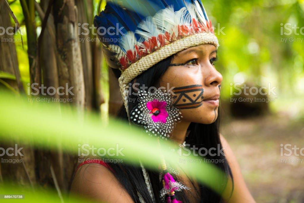 Native Brazilian girl in Amazon, Brazil stock photo