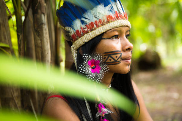 native brazilian girl in amazon, brazil - native american reservation stock photos and pictures