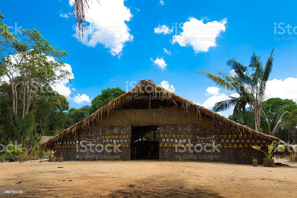 Native Brazilian Hut in the Amazon stock photo