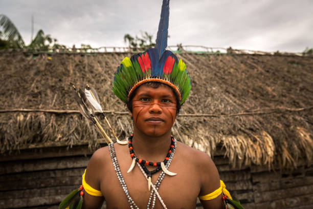 Native Brazilian man from Tupi Guarani Tribe in Brazil (Indio) stock photo